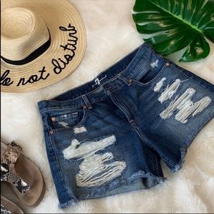 7FAM distressed high waisted jean shorts 30